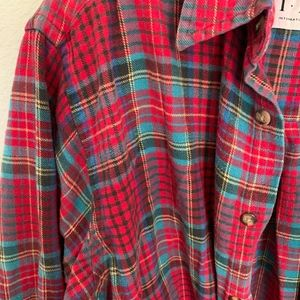 INC International Concepts Tops - Red multi color plaid flannel button down
